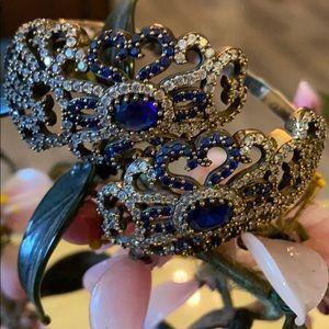 Antique 925 natural sapphire & topaz bracelet